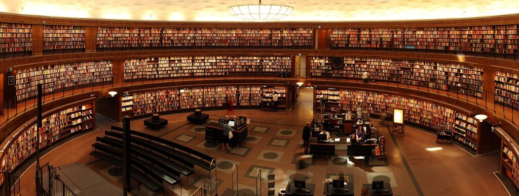 Panorámica de una biblioteca