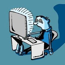 Chico hipnotizado por el ordenador